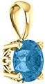 6mm Swiss Blue Topaz Gemstone Solitaire Pendant, 14K Yellow Gold
