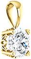 Genuine 6mm White Sapphire Solitaire Pendant, 14K Gold