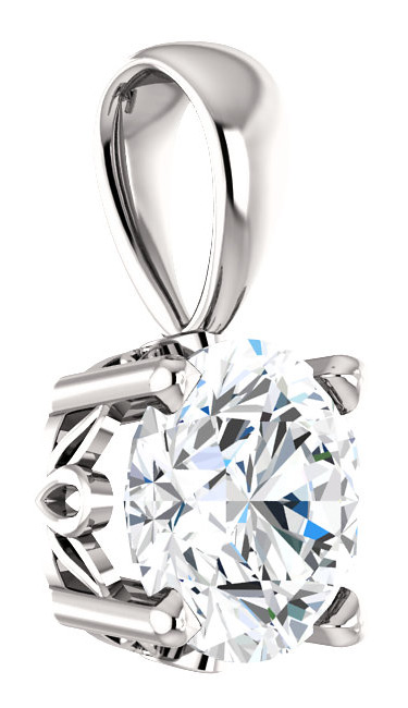 Real 6mm White Sapphire Solitaire Pendant in 14K White Gold