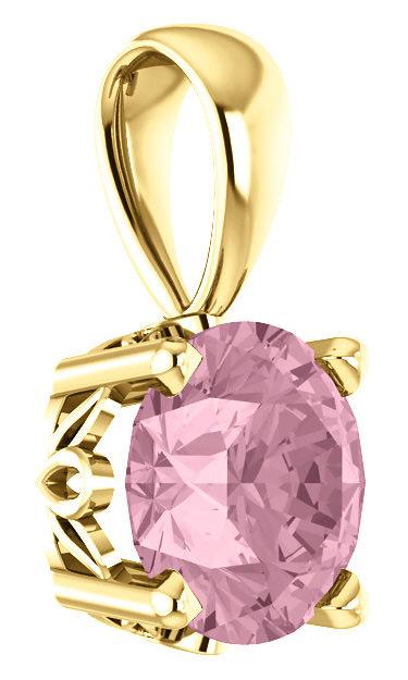 Baby-Pink Topaz Swarovski Solitaire Pendant, 14K Gold