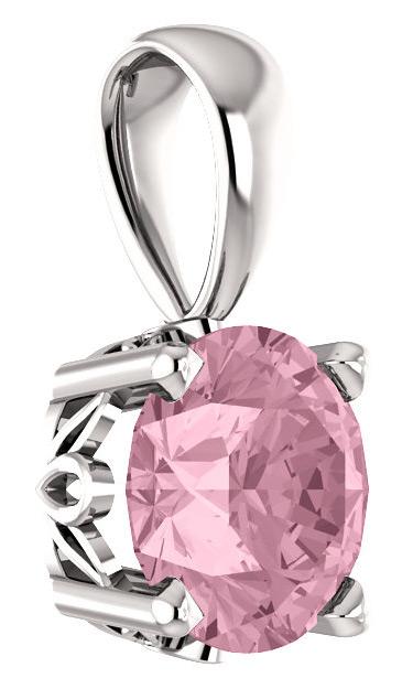 Baby Pink Topaz Swarvoski Solitaire Pendant in 14K White Gold