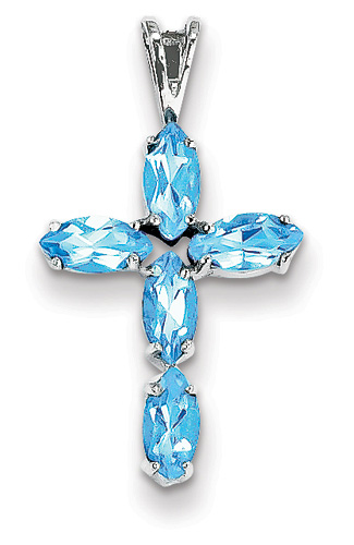 Blue Topaz Cross Pendant, 14K White Gold