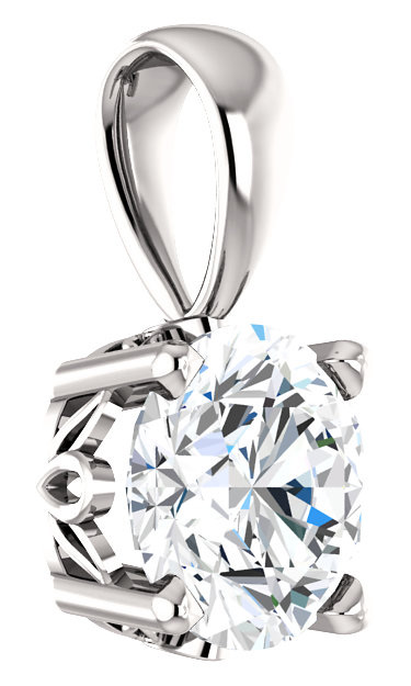 Clear White Topaz Solitaire Pendant, 14K White Gold