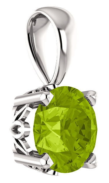 Faceted Green Peridot Solitaire Pendant, 14K White Gold