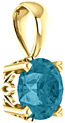 London-Blue Topaz Solitaire Pendant, 14K Yellow Gold