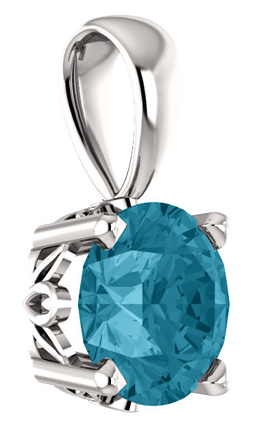 London-Blue Topaz Solitaire Pendant in 14K White Gold