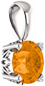 Orange Garnet Solitaire Pendant, 14K White Gold