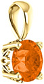 Orange Topaz Swarovski Solitaire Pendant, 14K Gold