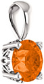 Poppy-Orange Topaz Swarovski Solitaire Pendant, 14K White Gold