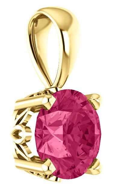 Pure Pink Topaz Swarovski Gemstone Solitaire Pendant
