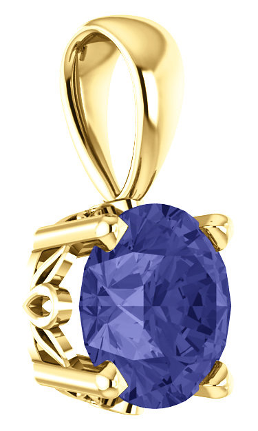 Real Tanzanite Gemstone Solitaire Pendant, 14K Yellow Gold