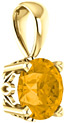 Round Faceted Citrine Solitaire Pendant, 14K Yellow Gold