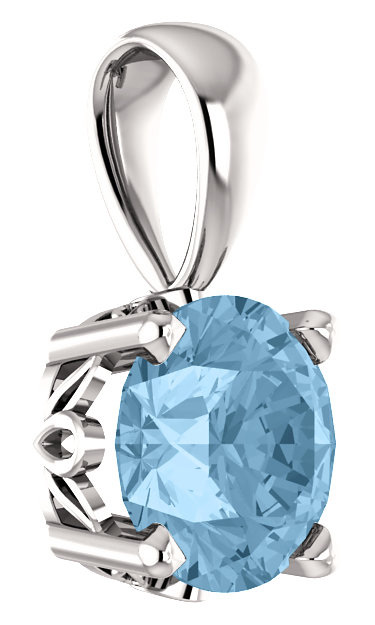Sky-Blue Topaz Solitaire Pendant in 14K White Gold