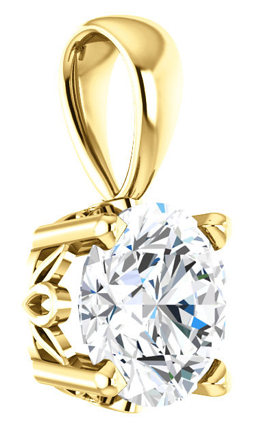 White Topaz Solitaire Pendant in Solid 14K Gold