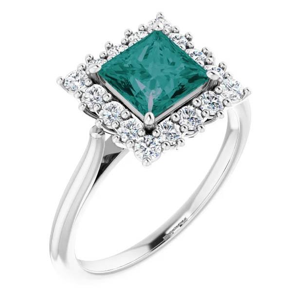1 1/2 carat lab-made princess-cut alexandrite and 0.40 carat diamond halo ring