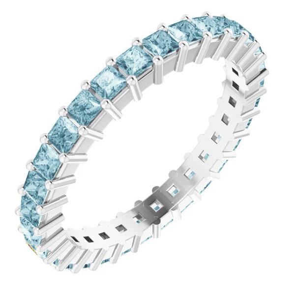 1 1/2 carat princess-cut square 2mm aquamarine eternity band, 14k white gold