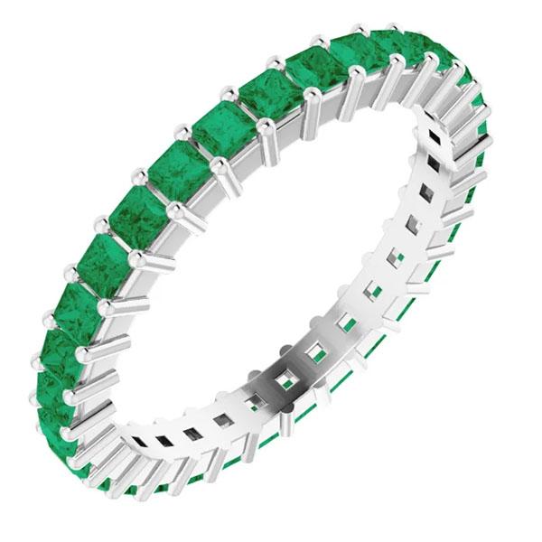 1 1/2 carat princess-cut real emerald eternity band, 14k white gold