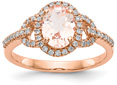1.49 Carat Morganite and Diamond Ring in 14K Rose Gold