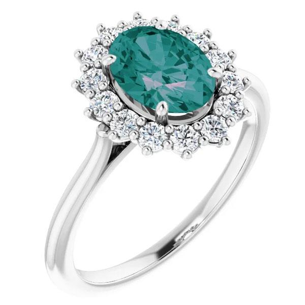 1.66 carat lab-made oval alexandrite 1/3 carat diamond halo ring
