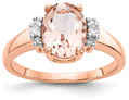1.70 Carat Oval Morganite Trinity Diamond Ring in 14K Rose Gold
