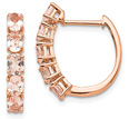 1.73 Carat 14K Rose Gold Morganite Hoop Earrings