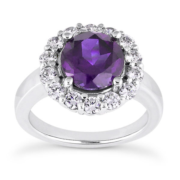 1 Carat Amethyst and 1/3 Carat Diamond Halo Ring