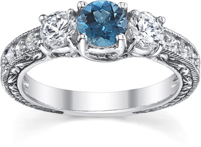 1 Carat Blue and White Three-Stone Diamond Engagement Ring, 14K White Gold