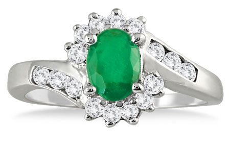 1 Carat Emerald and Diamond Flower Ring