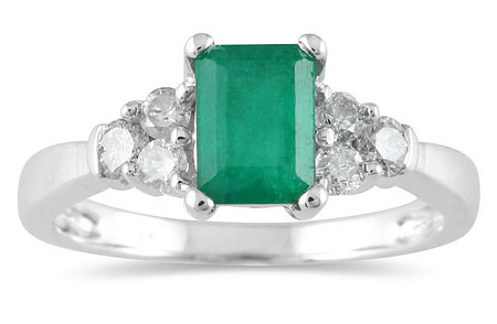 1 Carat Emerald-Cut Emerald Diamond Ring in 14K White Gold