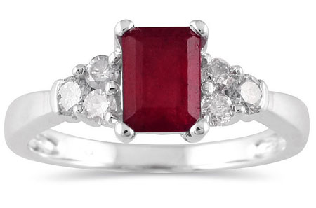 1 Carat Emerald-Cut Ruby Diamond Ring in 14K White Gold