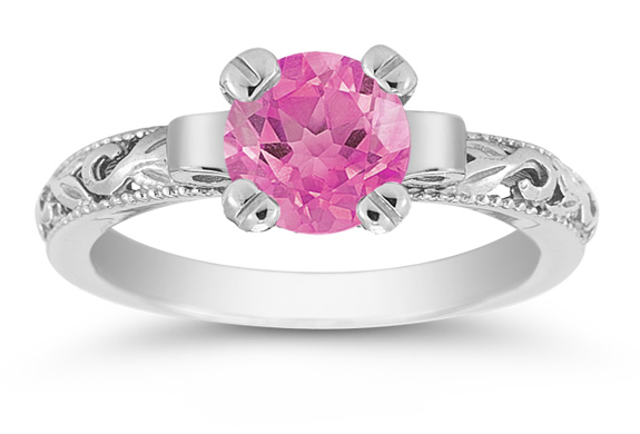 1 Carat Pink Topaz Paisley Ring in 14K White Gold