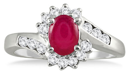 1 Carat Ruby and Diamond Flower Ring