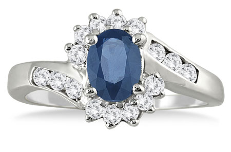 1 Carat Sapphire and Diamond Flower Ring