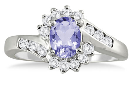 1 Carat Tanzanite and Diamond Flower Ring