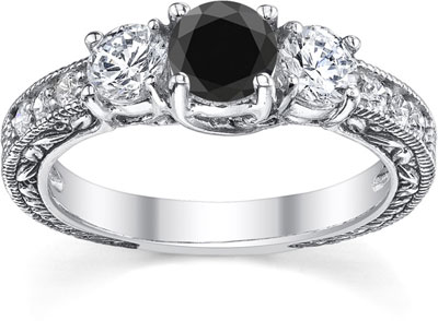 1 Carat Black and White Round-Cut Diamond Floret Engagement Ring, 14K White Gold