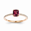 14K Rose Gold Rhodolite Garnet and Diamond Ring