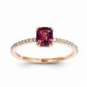 14K Rose Gold Rhodolite Garnet and Diamond Ring
