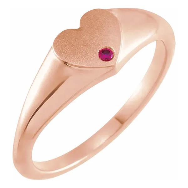 14k rose gold engravable heart signet ruby ring
