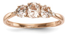 14K Rose Gold Three Stone Morganite Ring