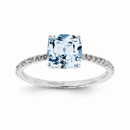 Diamond and Blue Topaz Square Ring, 14K White Gold