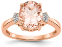 2.20 Carat Oval Morganite and Diamond Ring, 14K Rose Gold