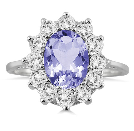 2 Carat Tanzanite and 1 Carat Diamond Ring, 14K White Gold