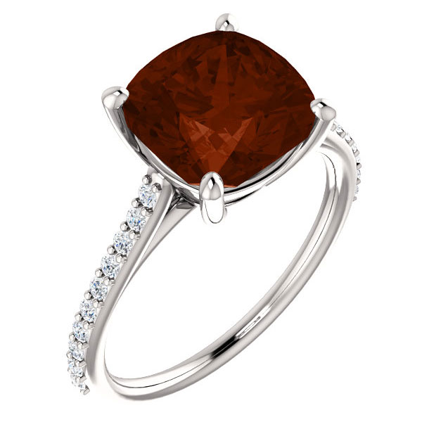 3.25 Carat Cushion-Cut Garnet and Diamond Cocktail Ring