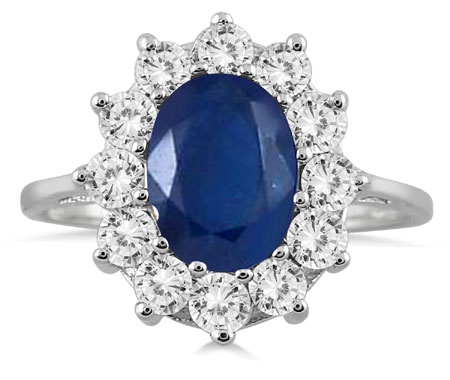 3 Carat Total Diamond and Sapphire Ring, 14K White Gold