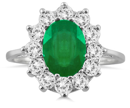 3 Carat Total Emerald and Diamond Ring, 14K White Gold