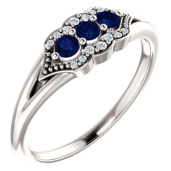 3-Stone Sapphire Tri-Set Diamond Ring, 14K White Gold