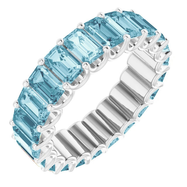 5-6 carat emerald-cut aquamarine eternity band, 14k white gold