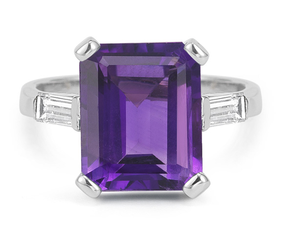 5 Carat Emerald-Cut Amethyst and Diamond Ring, 14K White Gold