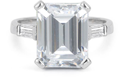 5 Carat Emerald-Cut Baguette Cubic Zirconia Ring, 14K White Gold