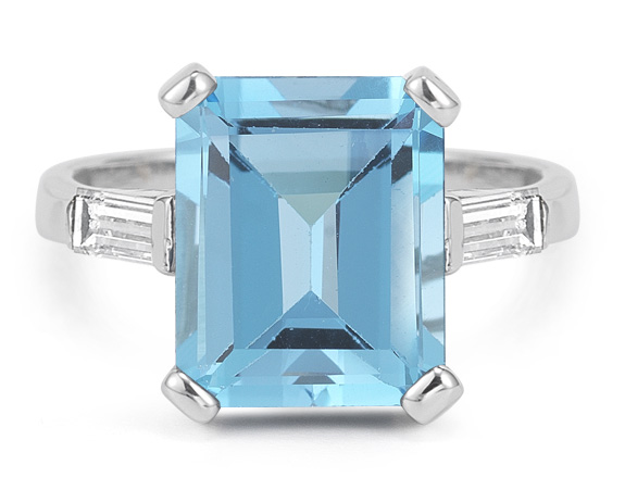 5 Carat Emerald-Cut Blue Topaz and Diamond Ring